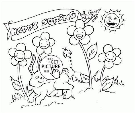 happy animals and plants spring coloring page for kids