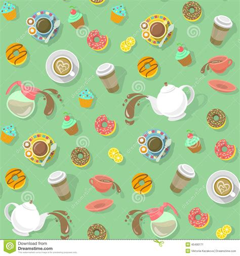 Coffee And Tea Pattern Stock Vector   Image: 45490171