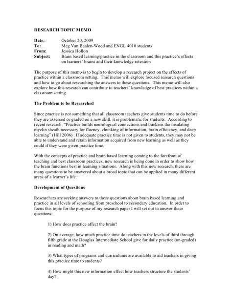Memo Writing Questions Draft Research Memo