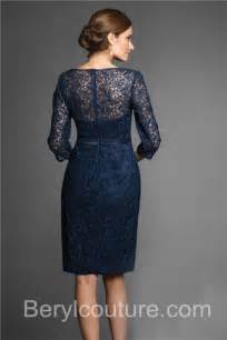 v neck sheer back 3 4 sleeve short navy lace mother of the