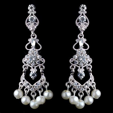 Chandelier Rhinestone Earrings Silver White Pearl Rhinestone Chandelier Clip On Earrings
