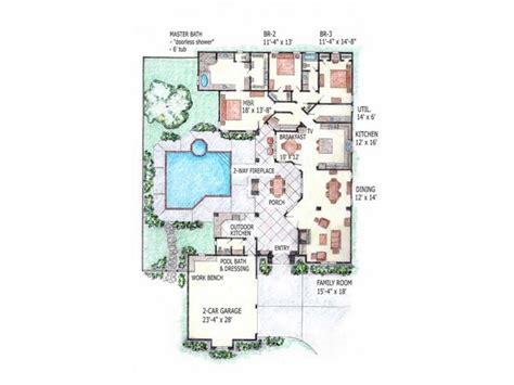 Center Courtyard House Plans by Open Floor Plans Small Home Home Floor Plans With