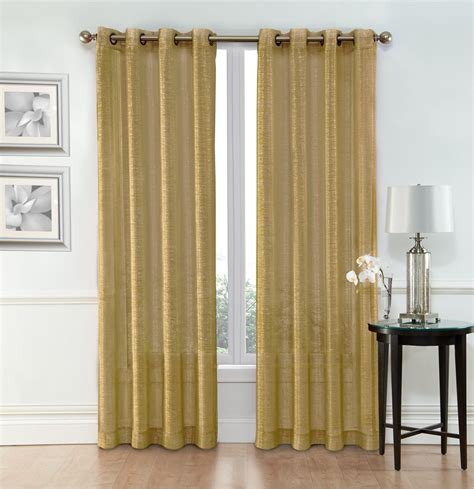 Width Of Curtains For Windows Sheer Window Curtain Grommet Panels Width 54 Quot X 84 Quot Gold Jet