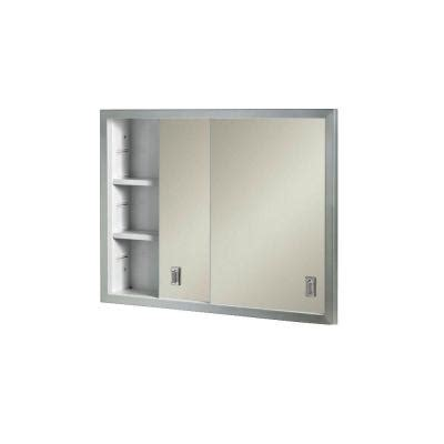 Sliding Door Medicine Cabinet Recessed Contempora 24 625 In W X 19 188 In H X 4 In D Recessed Medicine Cabinet B703850x The Home Depot