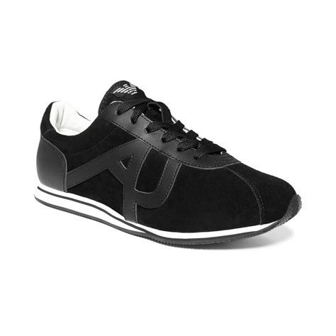 armani sneakers mens armani logo suede sneakers in black for lyst