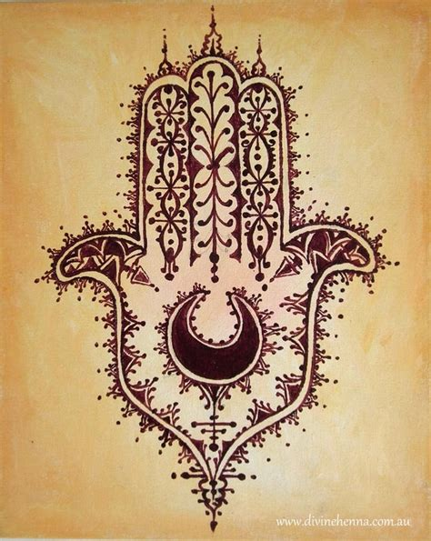 moroccan tattoo desert hamsa of fatima henna style painting on