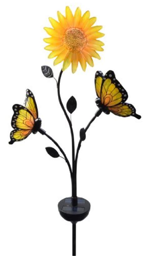 Moonrays 92537 Solar Powered Butterfly Sunflower Garden Solar Butterfly Light Garden Stake