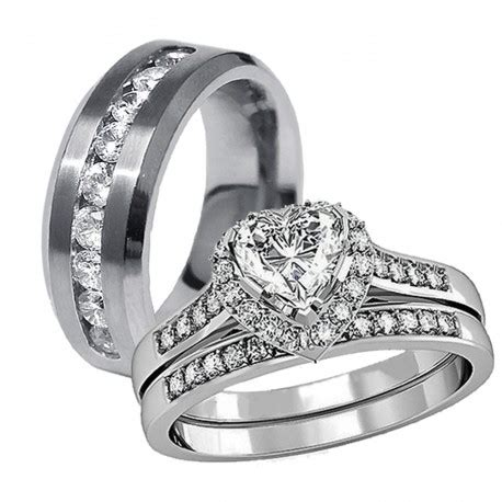 3 pcs his hers stainless steel s wedding engagement