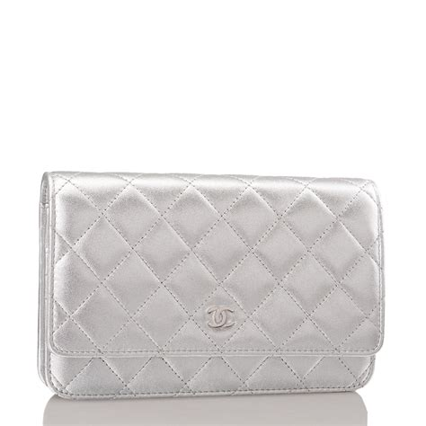 Silver Wallet chanel silver quilted lambskin wallet on chain woc