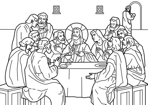 Sketch Of Jesus Last Supper Coloring Pages
