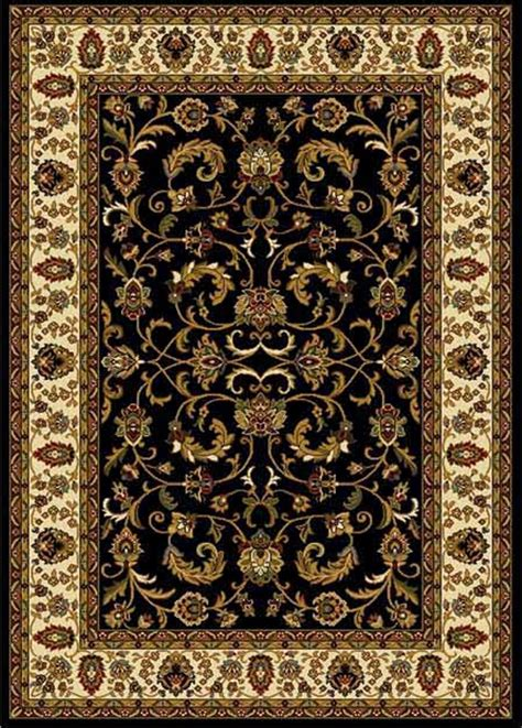 Asian Area Rug Traditional Black Beige Green Floral Area Rug Bordered Carpet Ebay