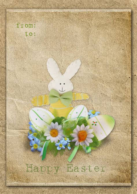 happy easter card with eggs and bunny on a vintage