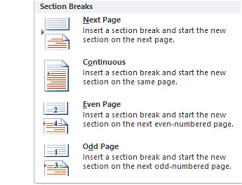 how to add a section break in word create a section break in a word 2010 document