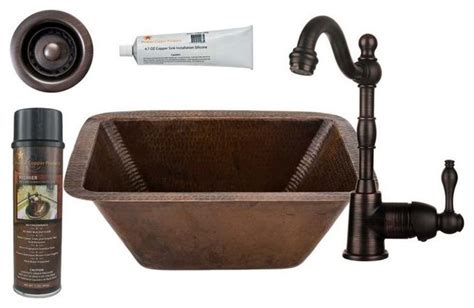 Copper Bar Sinks And Faucets by Rectangle Copper Bar Prep Sink Orb Single Handle Bar Faucet Drain Accesso Traditional