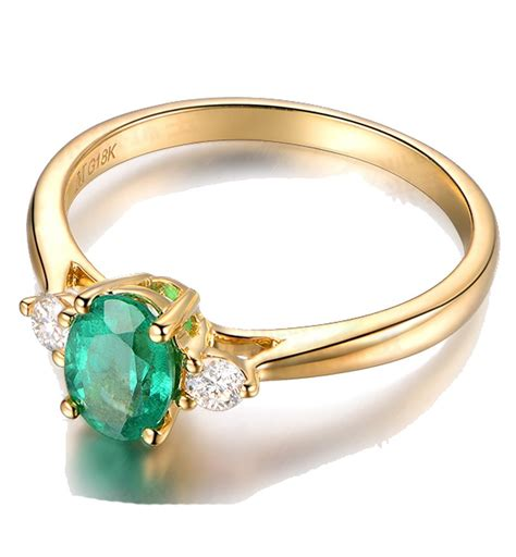trilogy half carat oval cut emerald and
