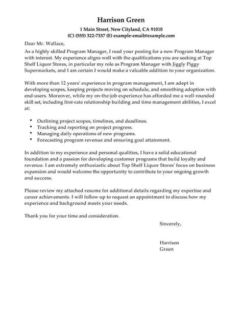 management cover letter examples livecareer