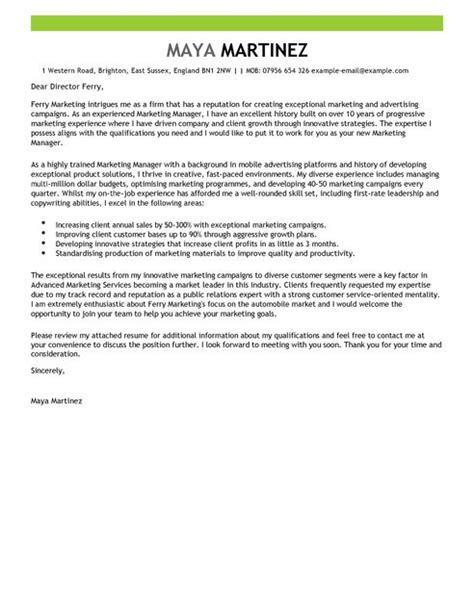 Marketing Cover Letter by Marketing Manager Cover Letter Exles For Marketing Livecareer