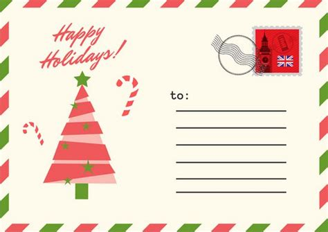 red green postcard christmas postcard templates by canva