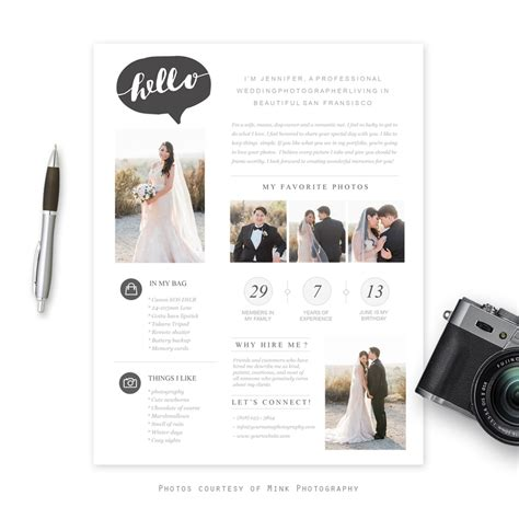 photography bio template moderna photographer bio template