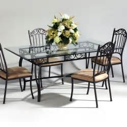 Wrought Iron Dining Table Chairs Chintaly Imports Wrought Iron And Glass Rectangular Dining Table Atg Stores