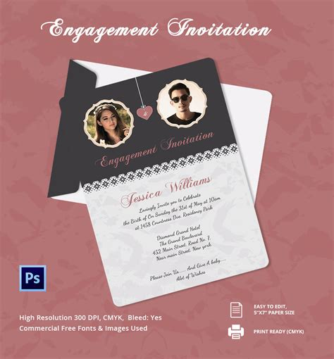 editable engagement invitation card template invitation template 31 free psd vector eps ai