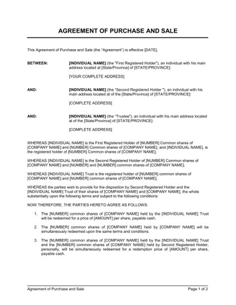 sale of shares agreement template agreement of purchase and sale of shares 2 template