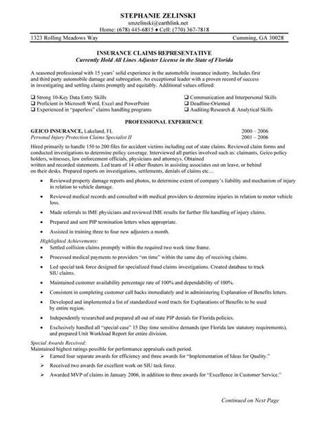 insurance claims representative resume sample insurance