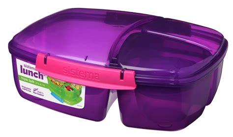 Plastik Klip Smpi Uk 6 X 10 Cm sistema lila dreifach geteilt 2l multi fach lunchbox joghurt kanne schule ebay