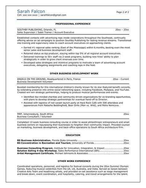 Resume Templates For Business Professionals Professional Resumes Cv Template