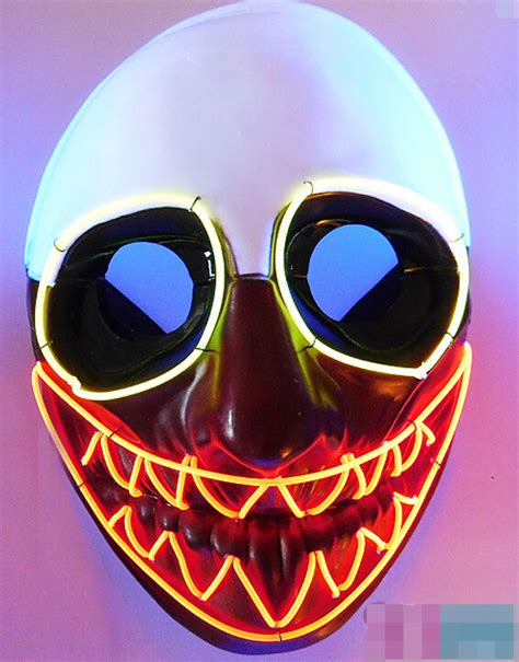 Light Up Mask by El Wire Mask Light Up Neon Macabre Clown Led Mask For