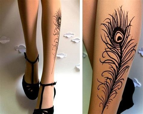 stocking tattoo designs n e w peacock feather gorgeous knee high socks