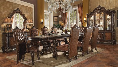 acme versailles 9 pedestal dining set in cherry oak
