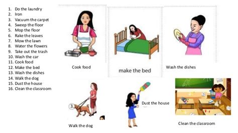 home chores household chores teaching esl