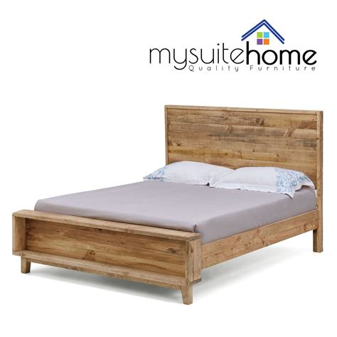 King Size Bed Frame And Mattress Portland Recycled Solid Pine Rustic Timber King Size Bed Frame