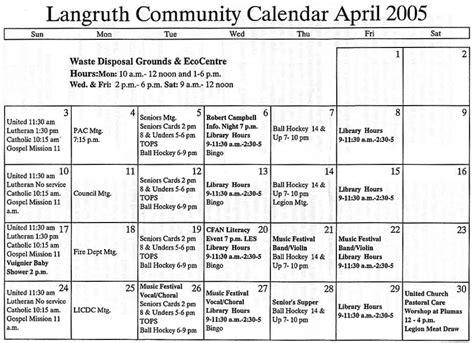 April 2005 Calendar Langruth News 2005