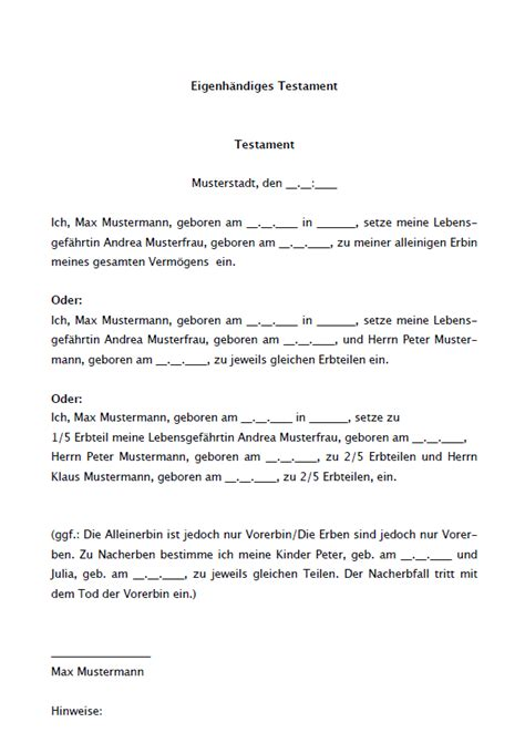 Kostenlose Vorlage Testament 16 Testamente Im Sparpaket Sofort Zum