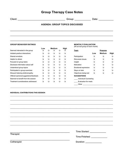 free case note templates group therapy case notes for