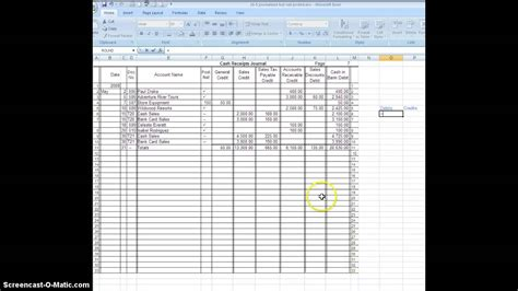receipts journal receipts journal posting total prove rule