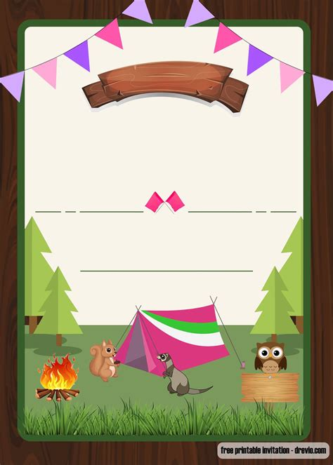 camp out invitations printable free free printable camping party invitation for girls