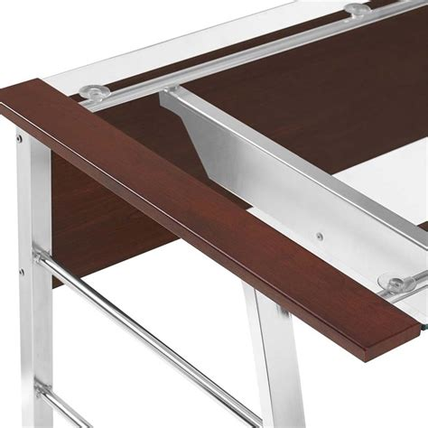 glass top l shaped computer desk in cherry 9105296com