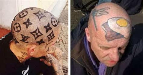 bald head tattoo performance artist stood still for 6 hours to let