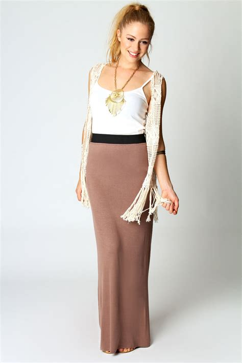 Savanabergo Pad Maxi Jersey Xl helen jersey contrast waistband maxi skirt mocha mocha shopping s fashion