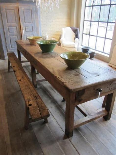 rustic kitchen table with bench 25 best ideas about old wood table on pinterest