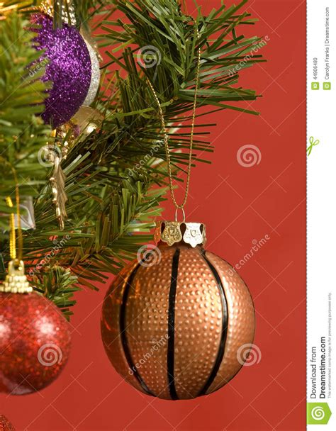 basketball ornament hanging from tree stock photo image