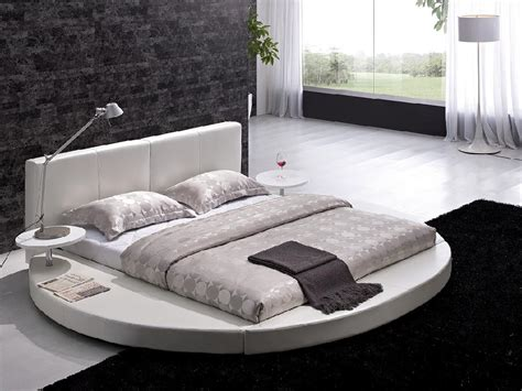 contemporary white leather headboard bed