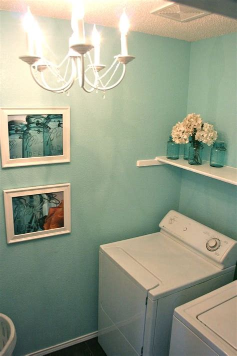 Laundry Room This Teal As Strips On Two Walls And The Teal Laundry
