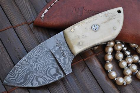 Handmade Designer - custom made damascus knife neck knife perkin