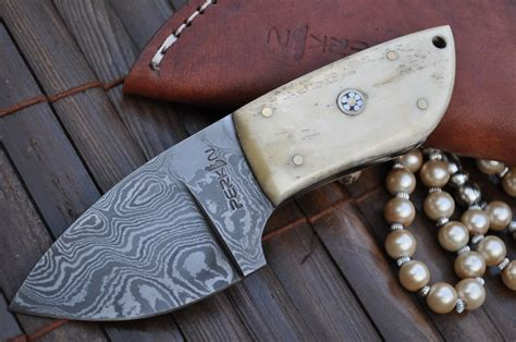 Made Or Handmade - custom made damascus knife neck knife perkin