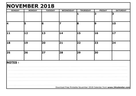 printable calendar 2018 a3 blank november 2018 calendar in printable format