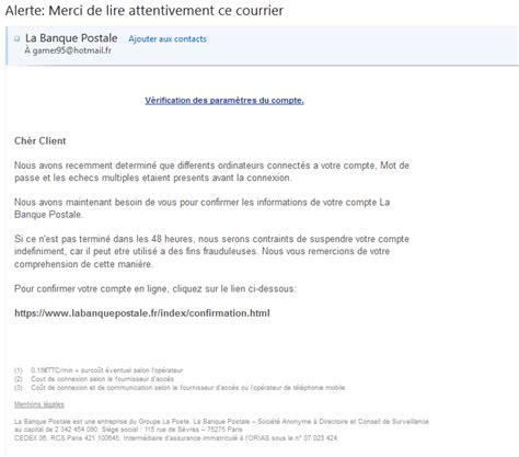 Lettre De Motivation Pour La Banque Postale Alerte Phishing Banque Postale Par Mail En Cours Undernews